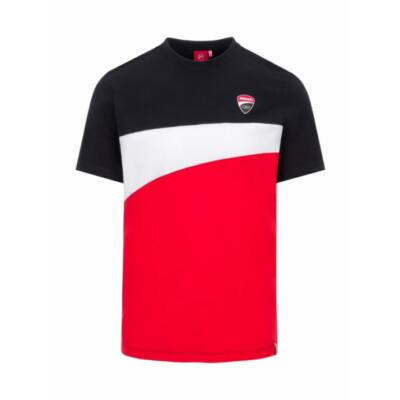 Ducati póló - Small Logo Stripes piros