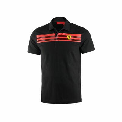 Ferrari galléros póló - Striped, fekete