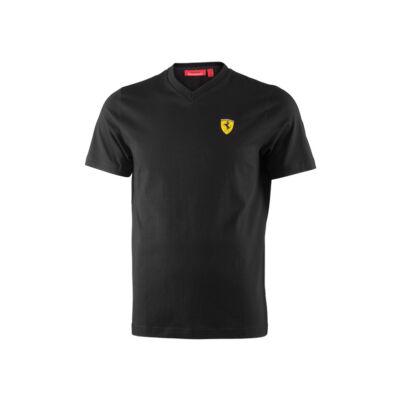 Ferrari póló - Classic Scudetto V Neck, fekete