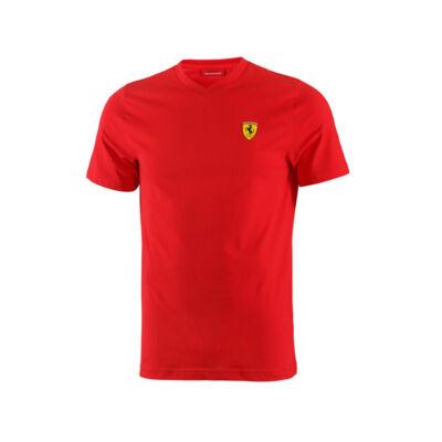 Ferrari póló - Classic Scudetto V Neck, piros