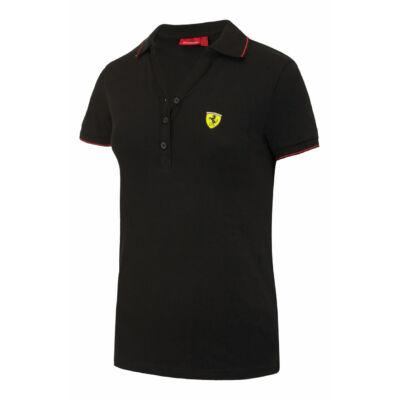 Ferrari női galléros póló - Scudetto, fekete