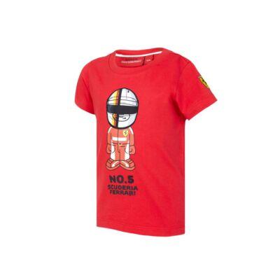 Ferrari gyerek póló - Vettel Graphic piros