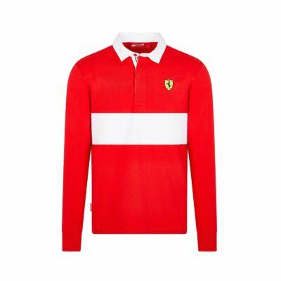 Ferrari hosszú ujjú galléros póló - Scudetto piros