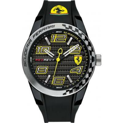 Ferrari óra - Red Rev Dynamic fekete-sárga
