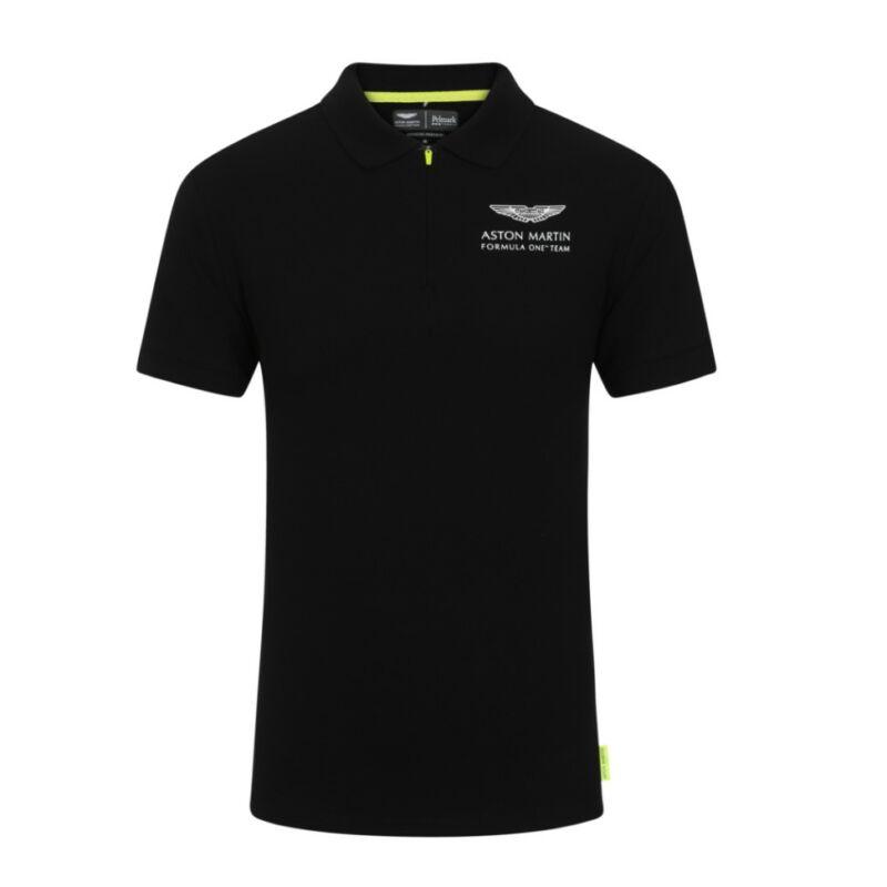 Aston Martin galléros póló - Team Logo fekete