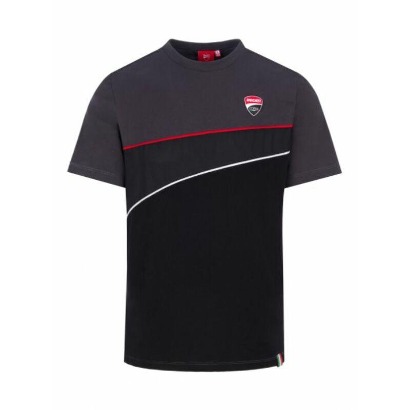 Ducati póló - Small Logo Stripes fekete