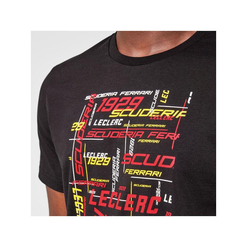 Ferrari póló - Leclerc Graphic fekete