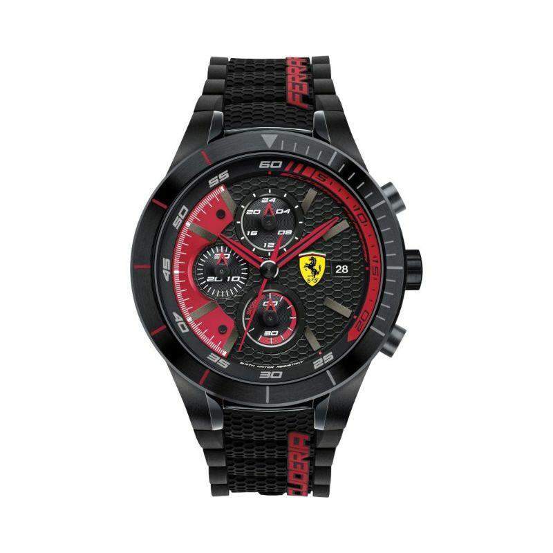 Ferrari óra - Red Rev Evo Chrono fekete-piros