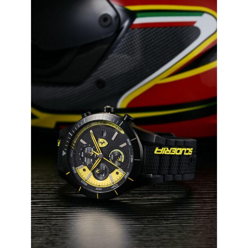Ferrari óra - Red Rev Evo Chrono fekete-sárga