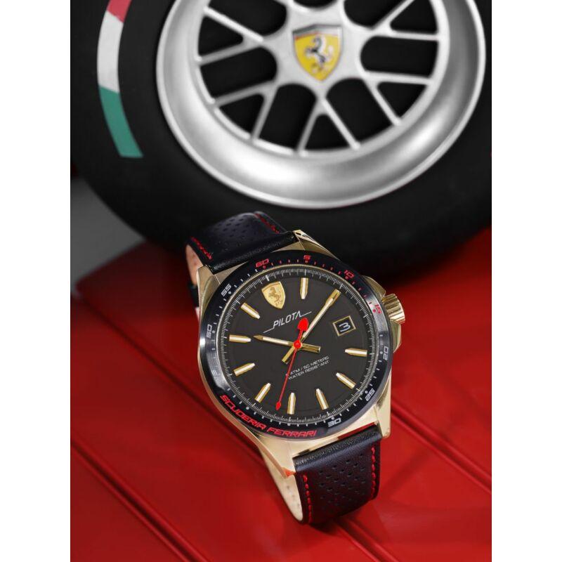 Ferrari óra - Pilota Leather fekete-arany