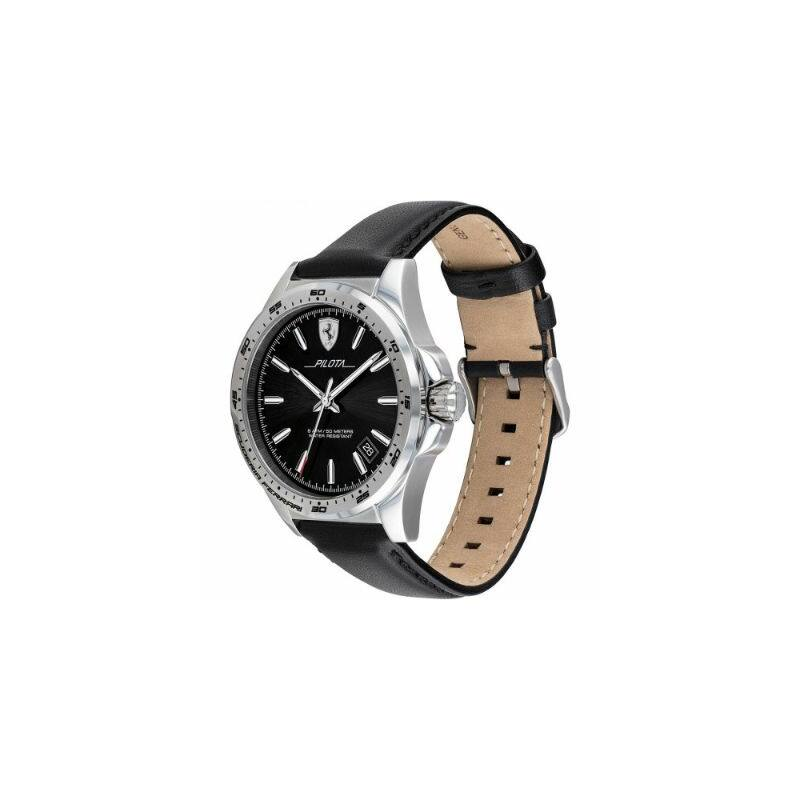Ferrari óra - Pilota Leather fekete-ezüst