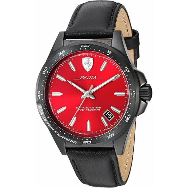 Ferrari óra - Pilota Leather fekete-piros