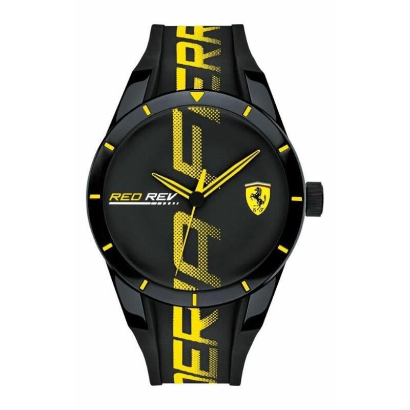 Ferrari óra - Red Rev Large Logo fekete-sárga