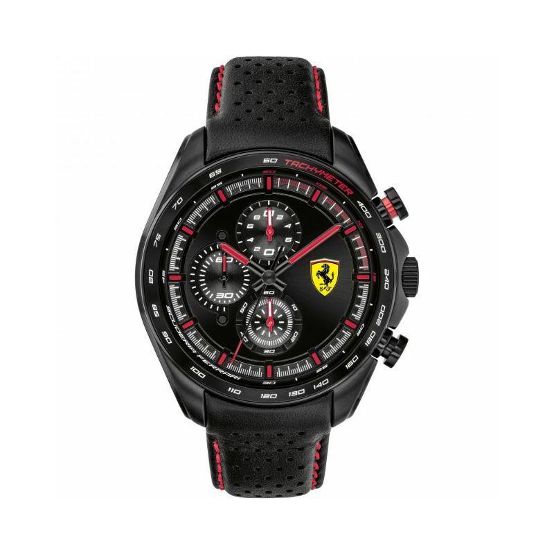Ferrari óra - Speed Racer Leather Chrono fekete