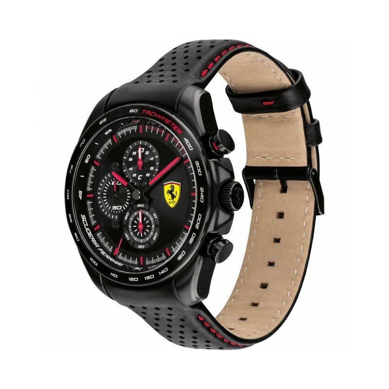 Ferrari óra - Speed Racer Leather Chrono fekete