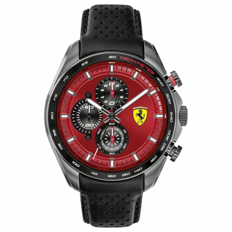 Ferrari óra - Speed Racer Leather Chrono fekete-piros